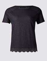 M&S Collection PLUS Pure Cotton Lace Trim T-Shirt