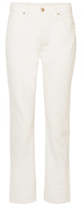 Gold Sign Cropped High-rise Straight-leg Jeans