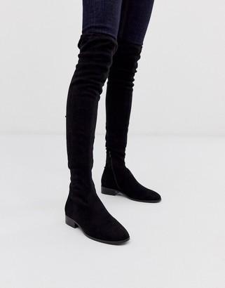 Asos Design DESIGN Kayden flat thigh high boots in black