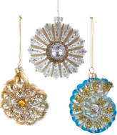 Kurt Adler Glass Shell Ornaments 3Pc Set