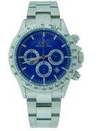 Adee Kaye AK4002-M Blue Men's All Stainless Steel Chronograph Watch AK4002