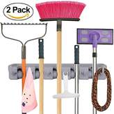 Anybest Mop and Broom Holder & Organizer Wall Mounted Garden Tool Rack Storage & Organization Hanger 5-Position (2 Pack)