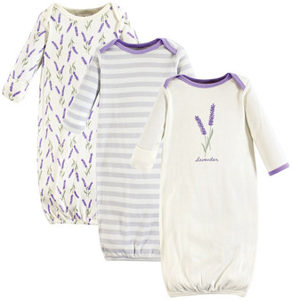Touched by Nature Girls' Infant Gowns Lavender - White & Purple Lavender Organic Cotton Gown Set - Newborn