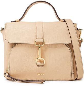 DKNY Paris Clasp-detailed Pebbled-leather Shoulder Bag