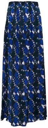 Phoebe Grace Susan Split Skirt In Blue/White Leaf