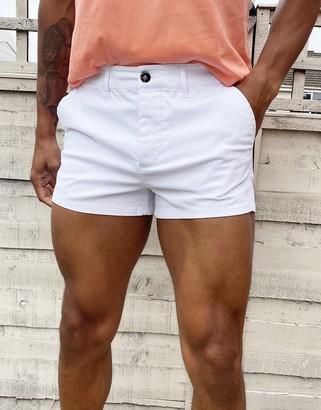 ASOS DESIGN skinny chino shorter shorts in white