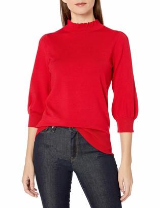 Lark & Ro Amazon Brand Women's Three Quarter Balloon Sleeve Ruffle Mock Neck Sweater