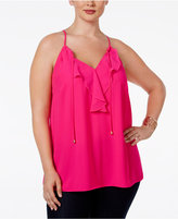 INC International Concepts Plus Size Ruffled Chiffon Halter-Neck Blouse, Only at Macy's