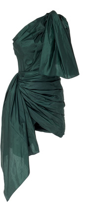 Oscar de la Renta Asymmetric One-Shoulder Silk-Taffeta Mini Dress