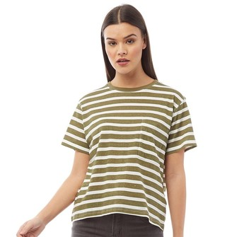 Brave Soul Womens Goddard T-Shirt Green/Ecru Stripe