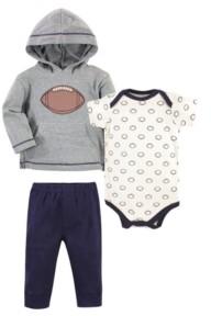 Hudson Baby Baby Boys Football Hoodie, Bodysuit or Tee Top and Pant Set, Pack of 3