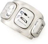 Kenneth Jay Lane Silvertone 3-Station Cuff Bracelet