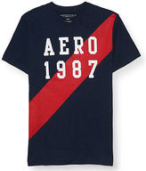 Aeropostale Mens Aero 1987 Sash Graphic T Shirt Blue