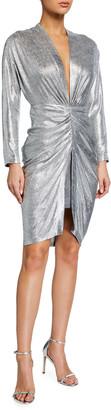 IRO Cilty Gathered Metallic Long-Sleeve Dress