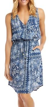 Karen Kane Printed Drawstring-Waist Dress