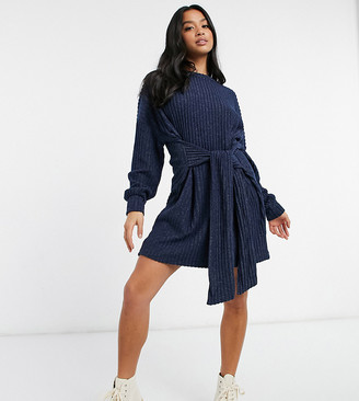 ASOS DESIGN Petite tie waist brushed rib mini dress in navy