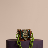 Burberry The Mini Square Buckle Bag in Velvet and Snakeskin