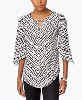 JM Collection Petite Printed Angel-Sleeve Top, Created for Macy's