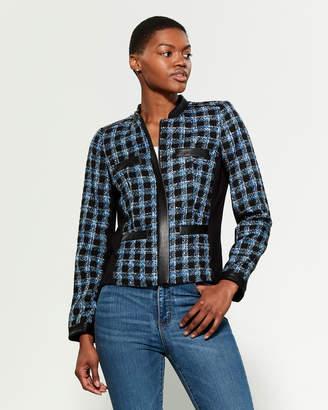 Karl Lagerfeld Paris Faux Leather Trim Tweed Jacket