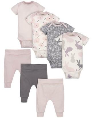 Gerber Baby Girl Bunny Mix N Match Onesies Bodysuits & Pants, 7-Piece Set