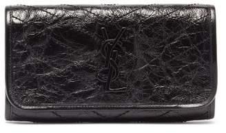 Saint Laurent Niki Monogram Crinkle-leather Wallet - Womens - Black