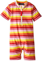 Toobydoo Multi Stripe/White Zip Short Sleeve Sunsuit (Infant)
