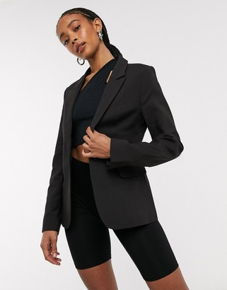 Selected single breasted fitted blazer in black