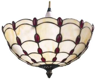 Loxton Lighting 35cm Inverted Dome Easy-Fit Jewelled Pendant Light, Red/Beige