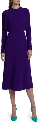 Victoria Beckham Crewneck Long-Sleeve Midi Cady Dress