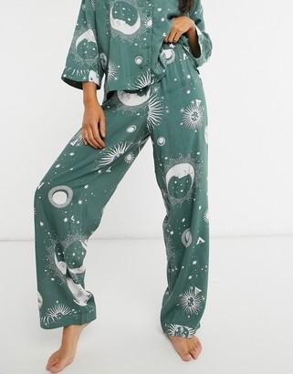 ASOS DESIGN mix-and-match astrology print 100% modal pajama pants in sage