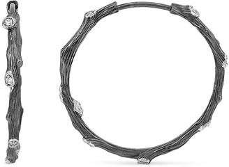 Michael Aram Enchanted Forest Black Twig Hoop Earrings w/ Diamonds