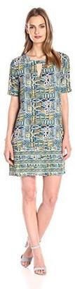 BCBGMAXAZRIA Azria Women's Andie Print-Blocked Short-Sleeve Dress