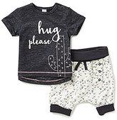 Petit Lem Baby Girls 3-24 Months Hug Please Short-Sleeve Top & Printed Shorts Set