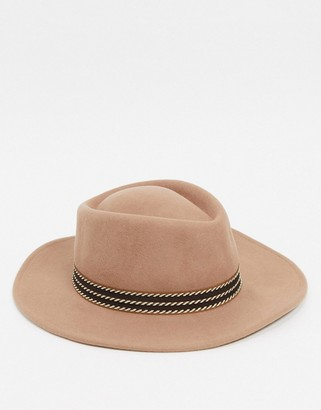 ASOS DESIGN wide brim pork pie hat with contrast band and size adjuster
