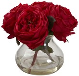 Nearly Natural Red Fancy Rose with Vase