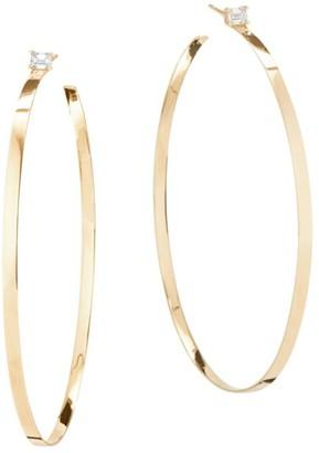 Lana 14K Gold Solitaire Diamond Hoops
