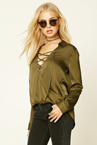Forever 21 FOREVER 21+ Contemporary Satin Lace-Up Top