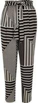 River Island Womens Black stripe print soft tie tapered pants