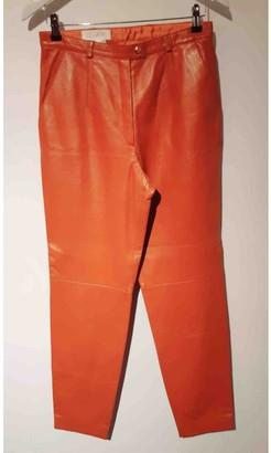Escada Orange Leather Trousers for Women