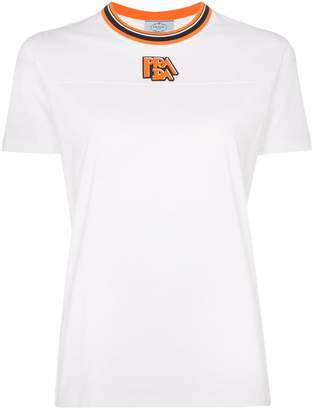 Prada ribbed neck logo patch cotton t-shirt