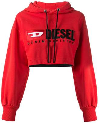 Diesel Cropped hoodie with denim division logo