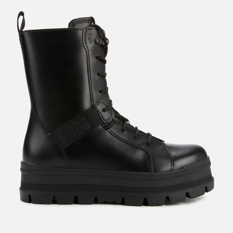 UGG Women's Sheena Water Resistant Leather Lace Up Boots - Black