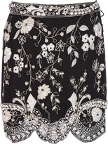 Versace Genny By Gianni Vintage floral beaded mini skirt
