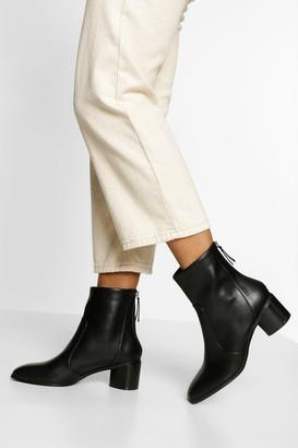 boohoo Low Block Heel Zip Back Boot