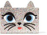 Karl Lagerfeld Choupette Embellished Glittered Acrylic Box Clutch - Gold