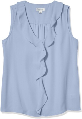 Tahari ASL Women's Sleeveless Ruffle Blouse