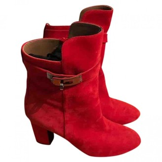 Hermes Jumping Red Suede Boots
