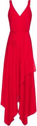 Milly Asymmetric Stretch-silk Crepe Midi Wrap Dress