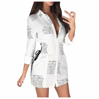 Your New Look Women's Fashion Letter Print Criss Cross Bandage Shirt Dress Lapel Long Sleeve Button Long Shirt Sexy Slim Dress for Work Vacation White
