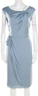 Armani Collezioni Grey Silk Draped Bow Detail Faux Wrap Sleeveless Dress XL